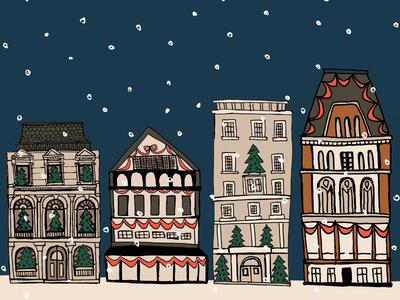 Christmas in London Illustration festive adorable design celebrate cheer happy holidays christmas seasonal snow hand drawn art drawing illustrator illustration london buildings winter