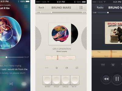 3 Different Music Player Ui Drafts music player ui