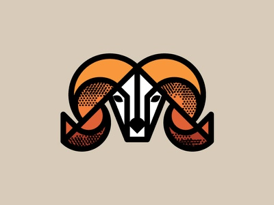 Ram thick line geometric mountain sheep ram texture illustration icon vancouver