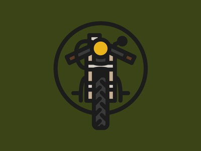 Cafe Racer thick line logo icon vancouver bike illustration motorcycle