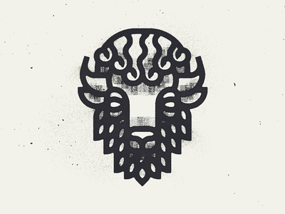 Bison Two head thick lines vancouver texutre animal icon logo identity bull buffalo bison