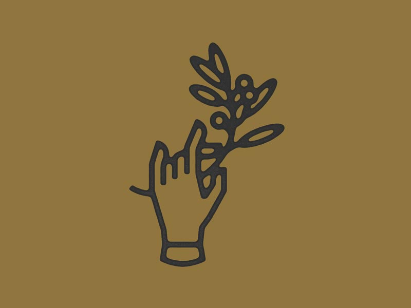 Hand & Twig  thick lines vancouver icon illustration leaf branch hand