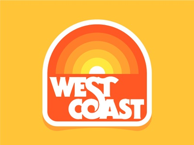 West Coast 2 thick lines serif gothic west coast lettering badge patch