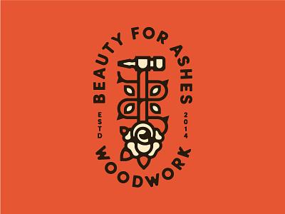 Beauty For Ashes mrk 2 woodwork logo lockup hammer rose