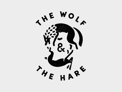 The Wolf & The Hare lockup beer badge icon logo animals hare rabbit wolf