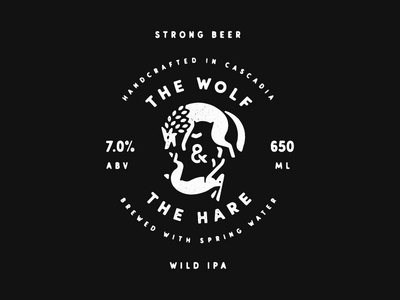 The Wolf & The Hare lockup animals icon logo badge label rabbit hare wolf beer
