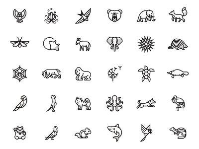 Animals stork octopus meerkat platypus fox elephant bear squid owl logo icon animal