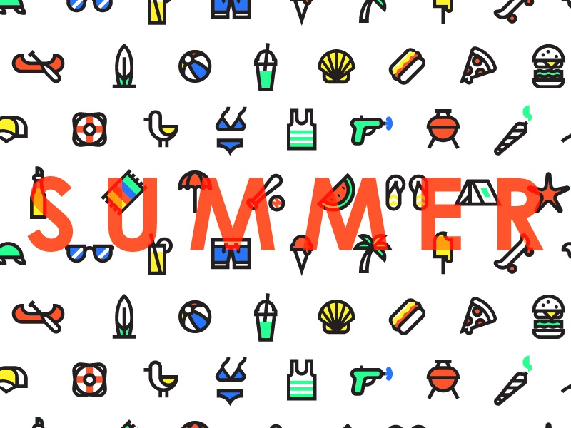Summer Icons by Peter Komierowski for Turtle on Dribbble