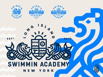 Swimmin Academy camp academy swimming crest badge lockup identity logo lion sea