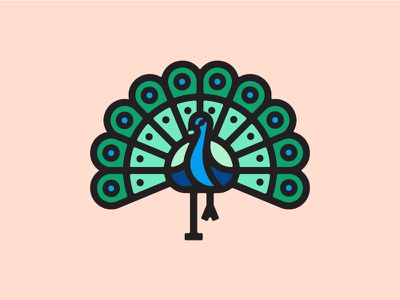Peacock bird logo vancouver icon illustration peacock