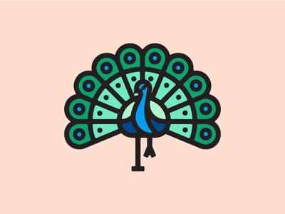 Peacock bird logo vancouver icon illustration peacock