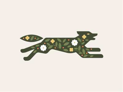Running Wolf silhouette flowers wolf