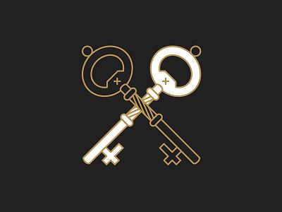 Seal key vector minimal line icon design
