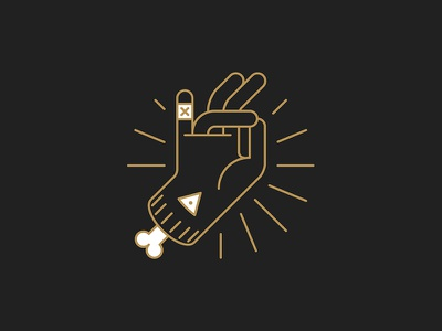 Holy Snap occult holy bone hand vector minimal line icon design