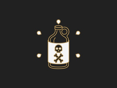 Poison growler vector occult beer minimal line bone skull icon holy design bottle