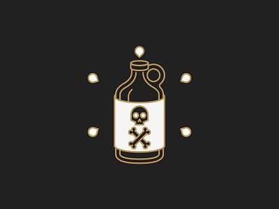 Poison growler vector occult beer minimal line bone skull icon holy design bottle