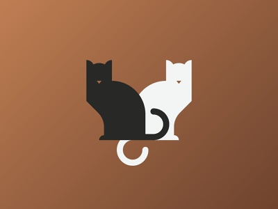 White cat black cat animal yinyang vector cat glyph icon design minimal