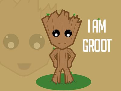 I Am Groot illustration groot fun character art vector
