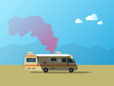 Hello, Dribbble ! breaking bad rv illustration heisenberg desert