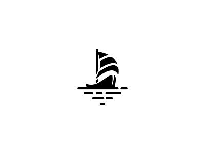 Sail away waves icon logo sail boat