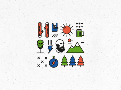 Camping icon set trees sun mountain icon camping beer