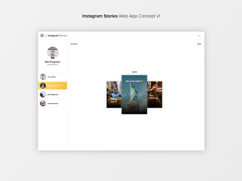 Instagram Stories - Web App Concept by Florian Busch on Dribbble