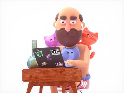 WFH. branding web character octane 3d wfh beard bong cats weed octanerender cinema4d c4d characterdesign illustraion