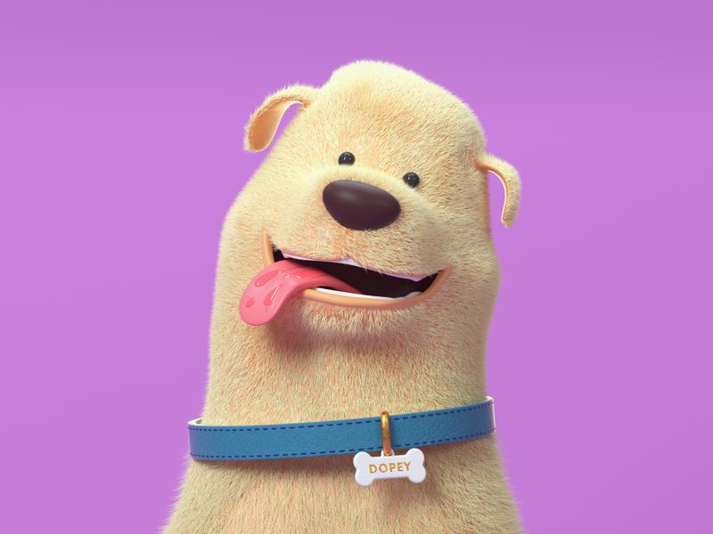 Furbaby characterdesign cinema4d maxon 3d art fur dog c4d octanerender branding web character illustration
