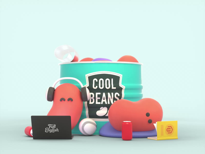 Cool Beans loop animation cool can cute bean art branding 3d cinema4d c4d octanerender character web design illustration