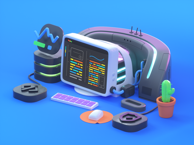 Super comp composition cactus developer machine computer 3d cinema4d web ui c4d octanerender branding design illustration