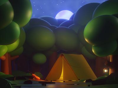 Lost&Found lowpoly3d moonlight concept forest camp 3d art web cinema4d c4d octanerender branding design illustration