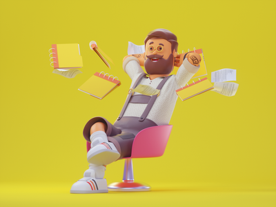 RELAX,YO! 3dillustration 3d art beard 3d cinema4d design c4d octanerender branding character illustration