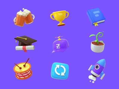 3d icon set 3d 3dicons web icon cinema4d c4d octanerender branding design illustration