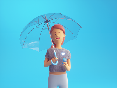 Healthcare 3dcharacter umbrella web 3d c4d cinema4d octanerender branding art character illustration