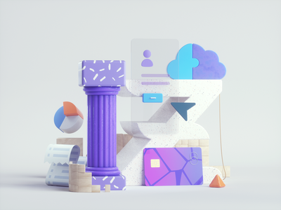 Banking pillar design art web abstract icons 3dillustration illustration banking 3d branding