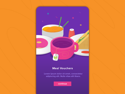 Meal Voucher ui donuts sandwich coffee meal android ios design vector illustration