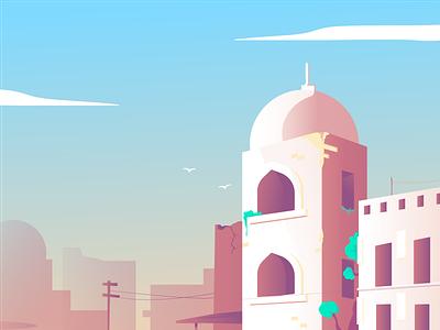 Persia palace persia web ui art isometric vector illustration