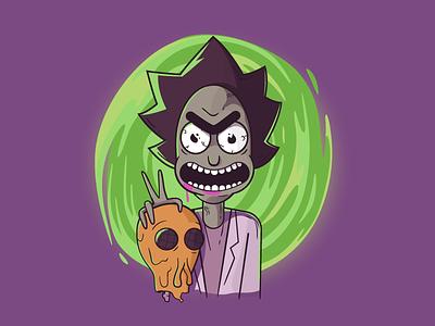 Badass Rick digitalart art icon alien vector character rickandmorty illustration