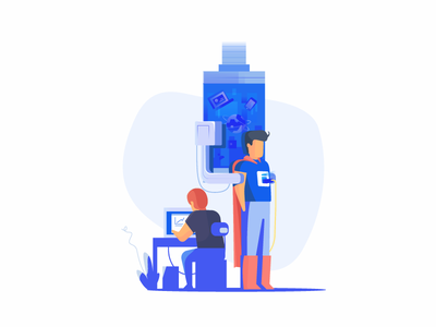 Information tech-hero icon website art web ui vector illustration
