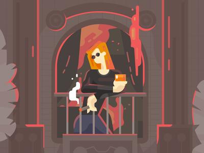 Never look back. alcoholic smoke window fire ui flat  design vector illustration art