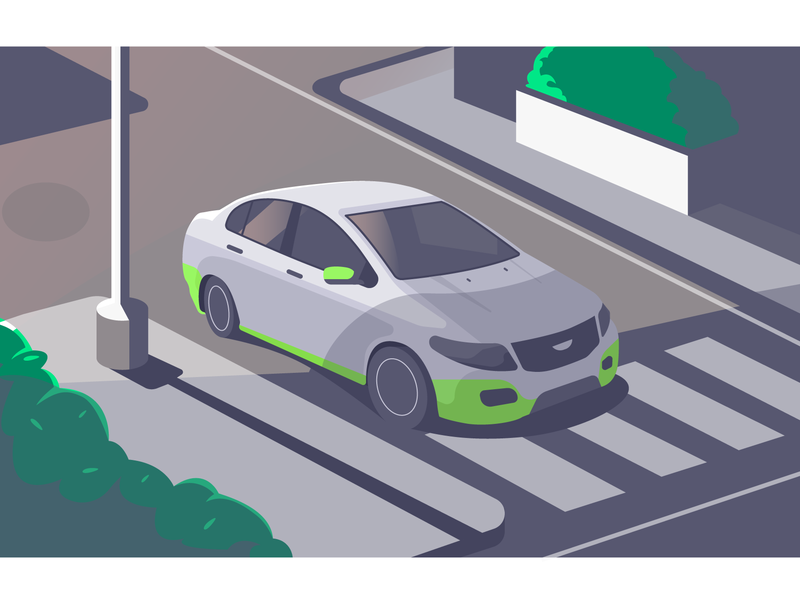 Yo, Cab is here! ola cab city isomatric perspective car vector art vector illustration