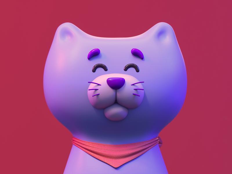 Meow! branding design art character fart web octanerender c4d 3d illustraion cat