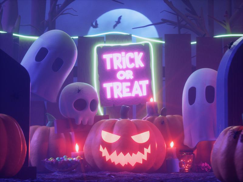 HALLOWEEN ghost halloween design web pumpkin octanerender cinema4d 3d halloween character design illustration