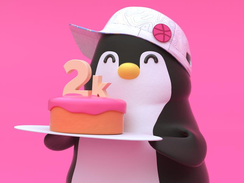 2k followers octanerender c4d cinema4d web branding cute hat cake penguin icon 3d character design illustration
