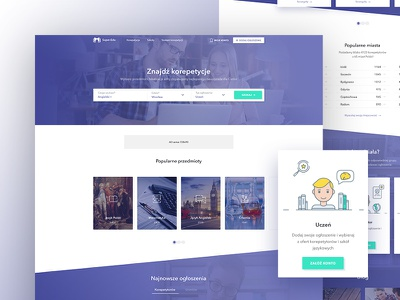 Homepage for SuperEdu - private lessons startup company application startup website