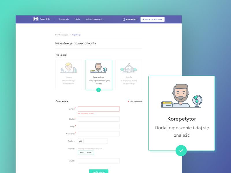 Register new account / Login screen for Super-Edu admin website user card account login user register