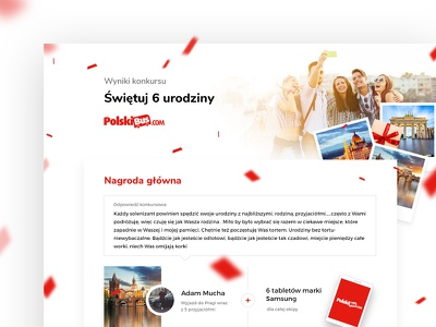 Website for Polski Bus coach carrier. Contest results contest polski bus website