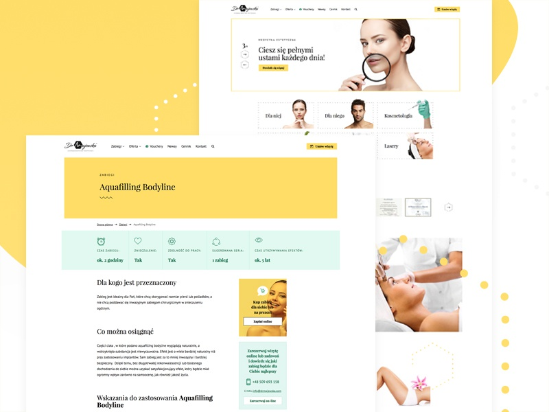 Website for aesthetic medicine clinic - overview medicine design clinic beauty website