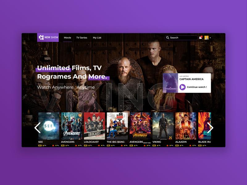 Movie Website minimal graphic image concept viking tv xd simple webdesign ux ui design website movie movie app