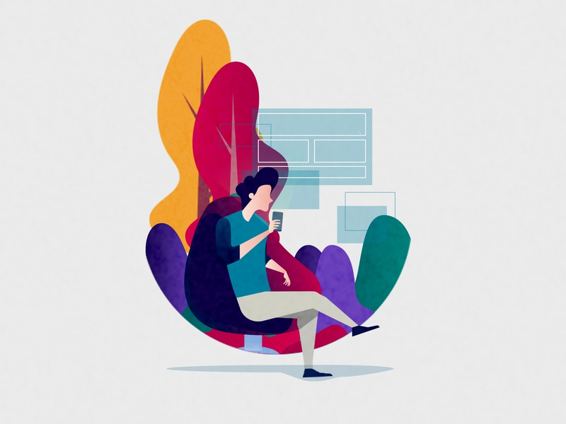 Relax media social man color mobile applicaiton drawing adobe ui illustrator simple photoshop design